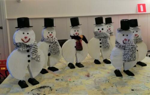 2020-01-27 sneeuwpoppenproject afgerond. Elke deelnemer heeft de pop nu thuis staan.